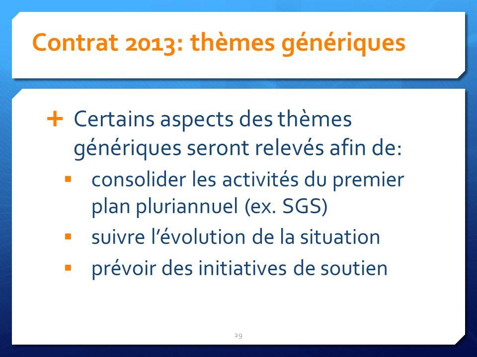 Contrat 2013: thèmes génériques 29 Certains aspects des thèmes génériques seront relevés afin de: consolider les activités du premier plan pluriannuel