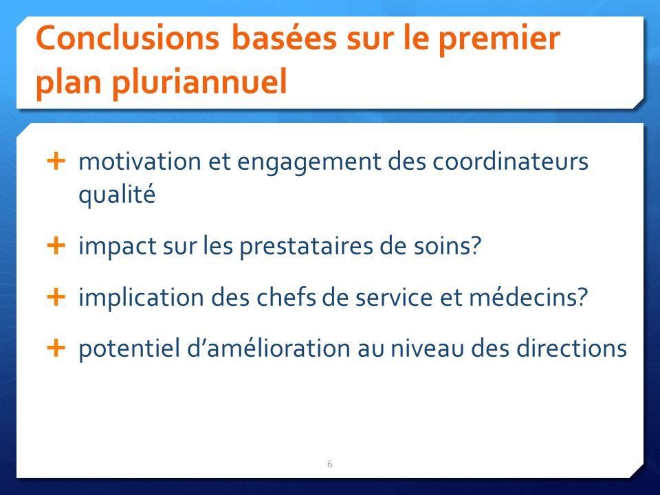 Conclusions basées sur le premier plan pluriannuel 6 motivation et engagement des coordinateurs qualité impact sur les prestataires de soins? implicat