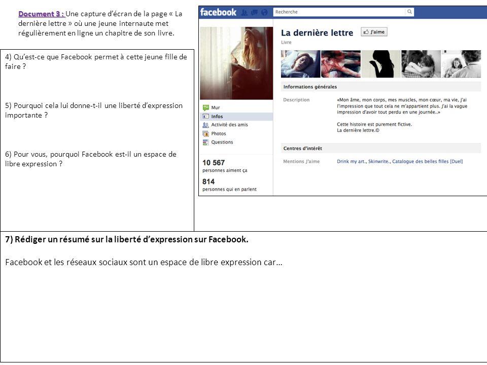 Document 3 : Document 3 : Une capture décran de la page « La dernière lettre » où une jeune internaute met régulièrement en ligne un chapitre de son l