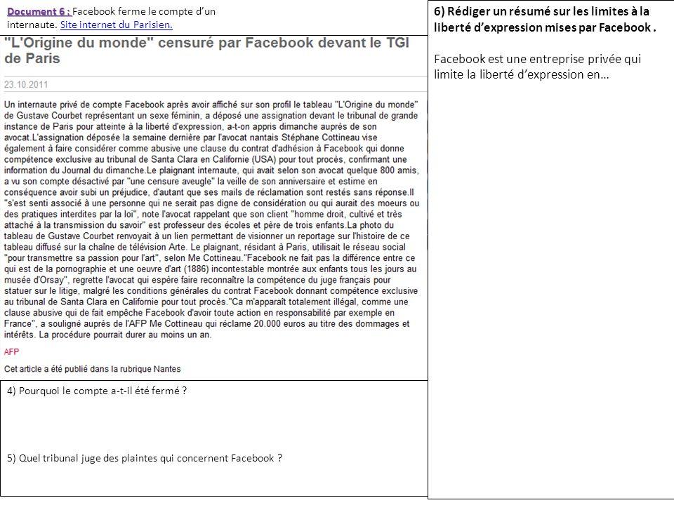 Document 6 : Document 6 : Facebook ferme le compte dun internaute. Site internet du Parisien.Site internet du Parisien. 4) Pourquoi le compte a-t-il é