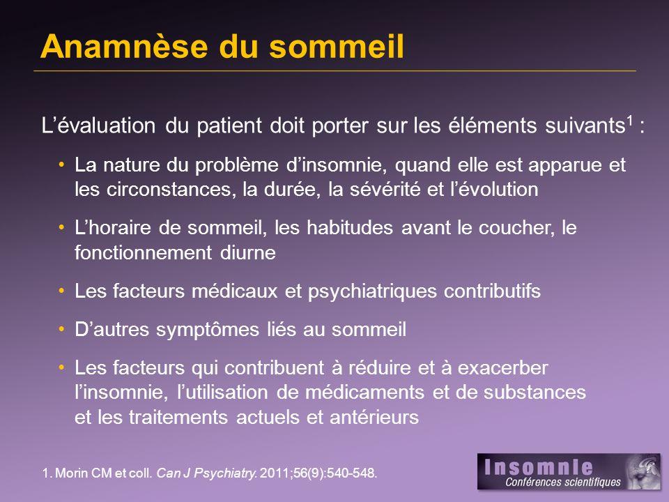 Agenda consensuel du sommeil – modèle Reproduit avec la permission de Carney CE et coll.