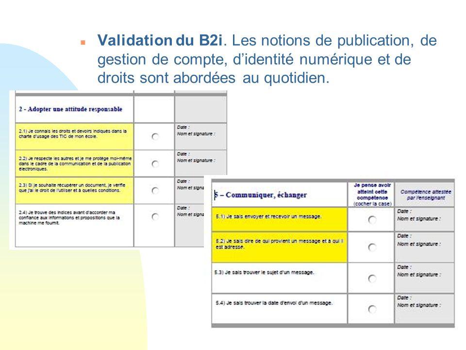 n Validation du B2i.