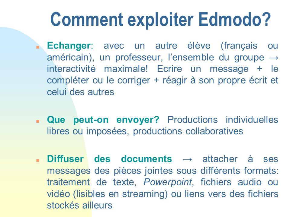 Comment exploiter Edmodo.