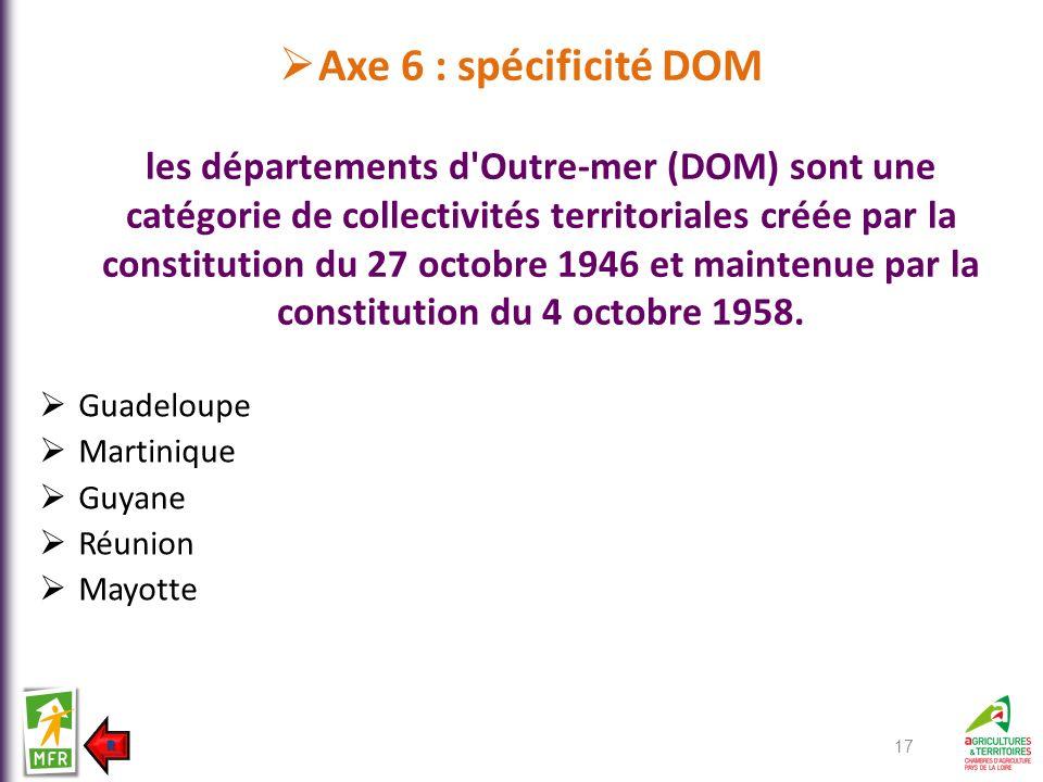 Axe 6 : spécificité DOM les départements d'Outre-mer (DOM) sont une catégorie de collectivités territoriales créée par la constitution du 27 octobre 1