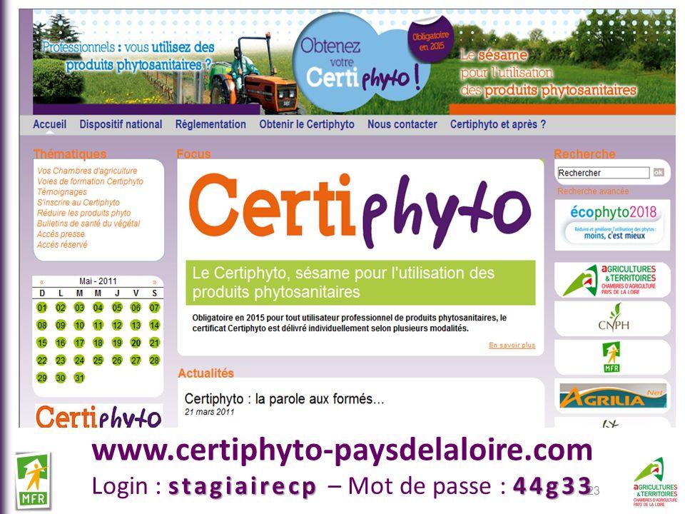 www.certiphyto-paysdelaloire.com stagiairecp44g33 Login : stagiairecp – Mot de passe : 44g33 23