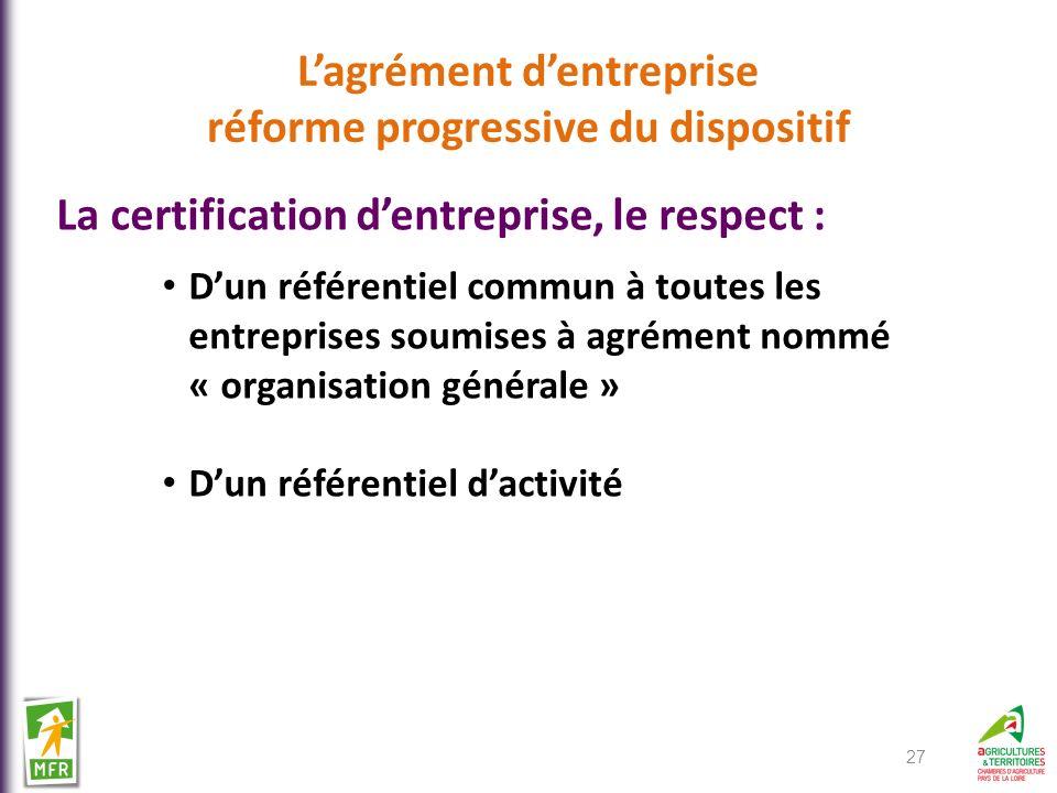 Lagrément dentreprise réforme progressive du dispositif La certification dentreprise, le respect : Dun référentiel commun à toutes les entreprises sou