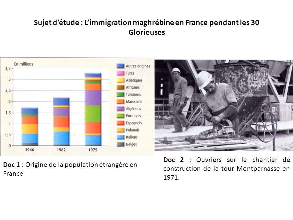 Sujet détude : Limmigration maghrébine en France pendant les 30 Glorieuses Doc 1 : Origine de la population étrangère en France Doc 2 : Ouvriers sur le chantier de construction de la tour Montparnasse en 1971.