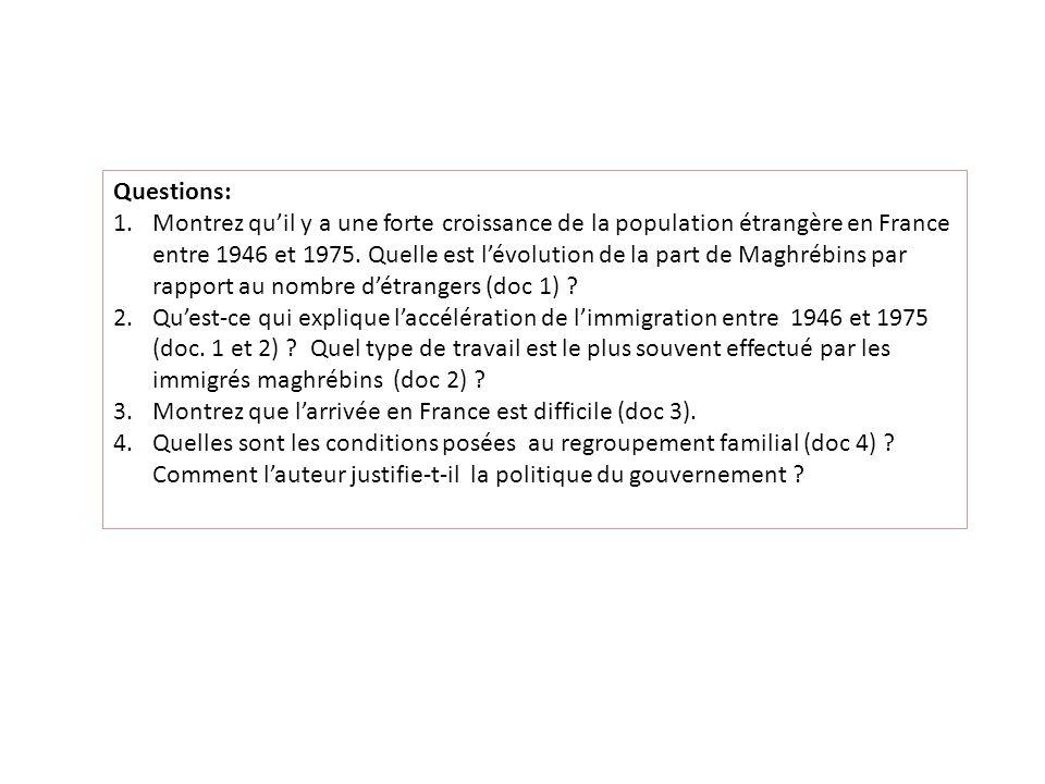Questions: 1.Montrez quil y a une forte croissance de la population étrangère en France entre 1946 et 1975.