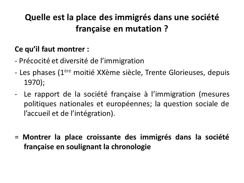 Quelle est la place des immigrés dans cette société française en mutation .
