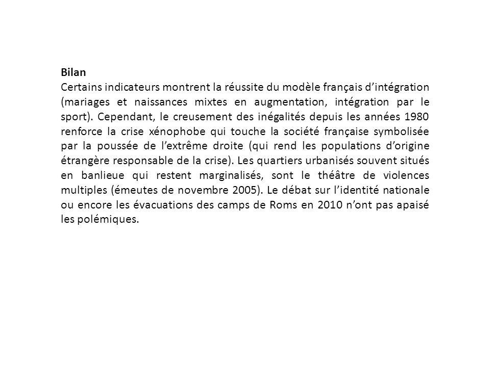 Bilan Certains indicateurs montrent la réussite du modèle français dintégration (mariages et naissances mixtes en augmentation, intégration par le sport).