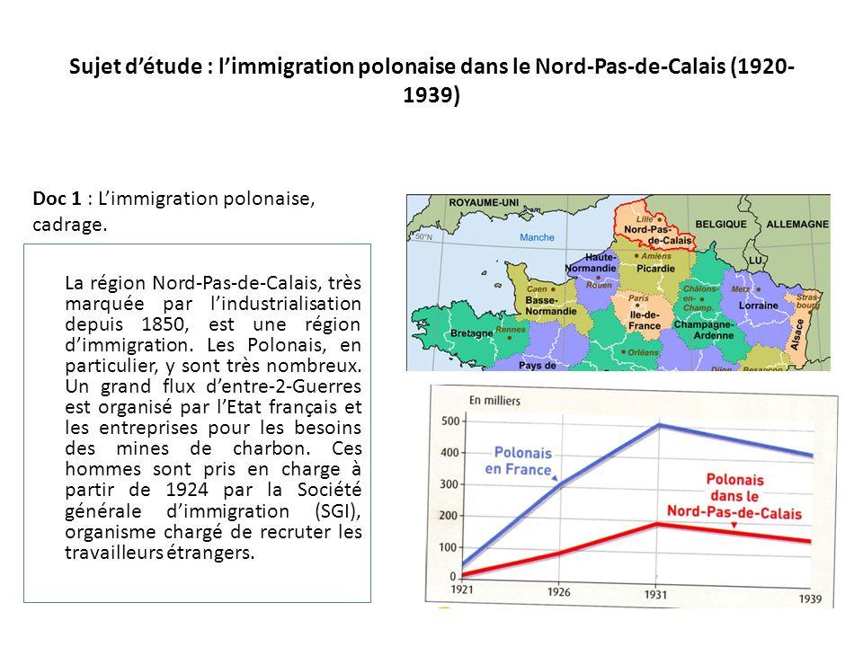 Sujet détude : limmigration polonaise dans le Nord-Pas-de-Calais (1920- 1939) La région Nord-Pas-de-Calais, très marquée par lindustrialisation depuis 1850, est une région dimmigration.