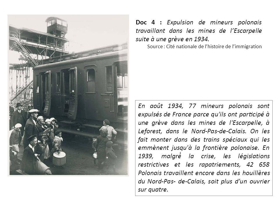Doc 4 : Expulsion de mineurs polonais travaillant dans les mines de lEscarpelle suite à une grève en 1934.