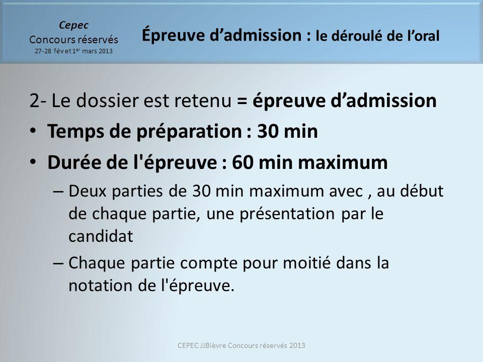 Cepec Concours réservés 27-28 fév et 1 er mars 2013 2- Le dossier est retenu = épreuve dadmission Temps de préparation : 30 min Durée de l'épreuve : 6
