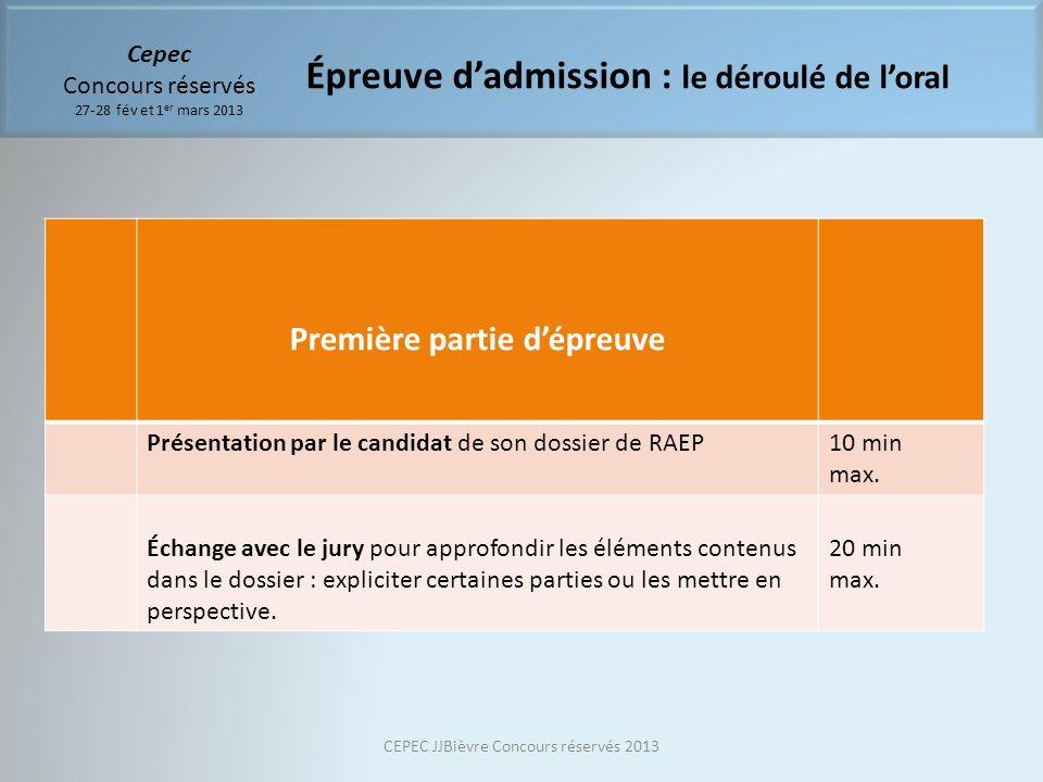 Cepec Concours réservés 27-28 fév et 1 er mars 2013 Première partie dépreuve Présentation par le candidat de son dossier de RAEP10 min max. Échange av