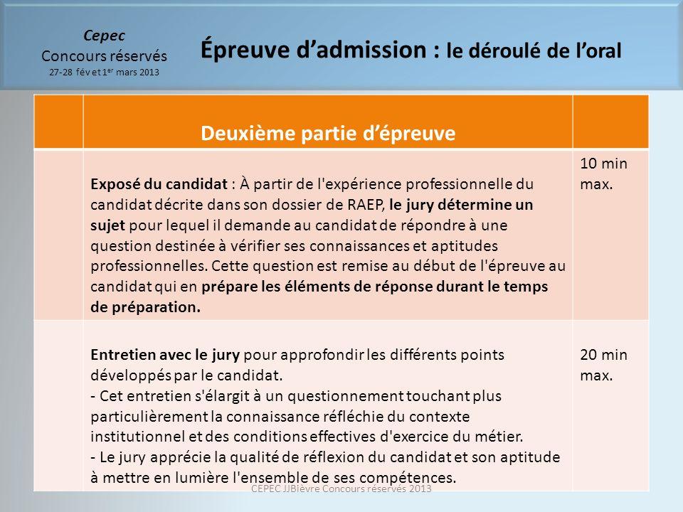 Cepec Concours réservés 27-28 fév et 1 er mars 2013 Deuxième partie dépreuve Exposé du candidat : À partir de l'expérience professionnelle du candidat