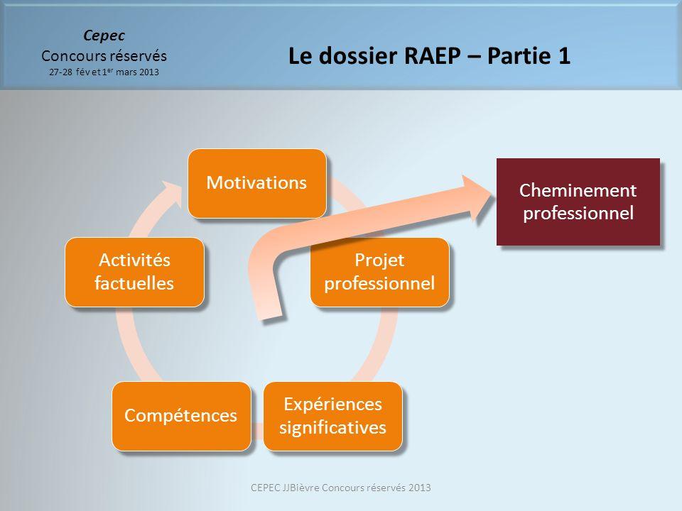 Cepec Concours réservés 27-28 fév et 1 er mars 2013 Le dossier RAEP – Partie 1 Motivations Projet professionnel Expériences significatives Compétences