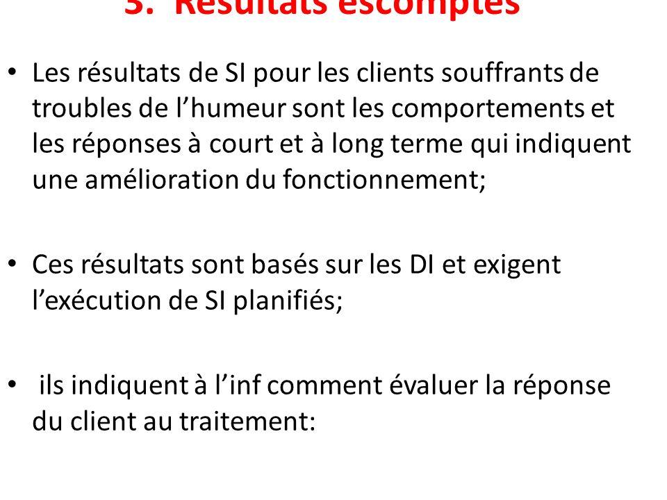 3. Résultats escomptés Les résultats de SI pour les clients souffrants de troubles de lhumeur sont les comportements et les réponses à court et à long