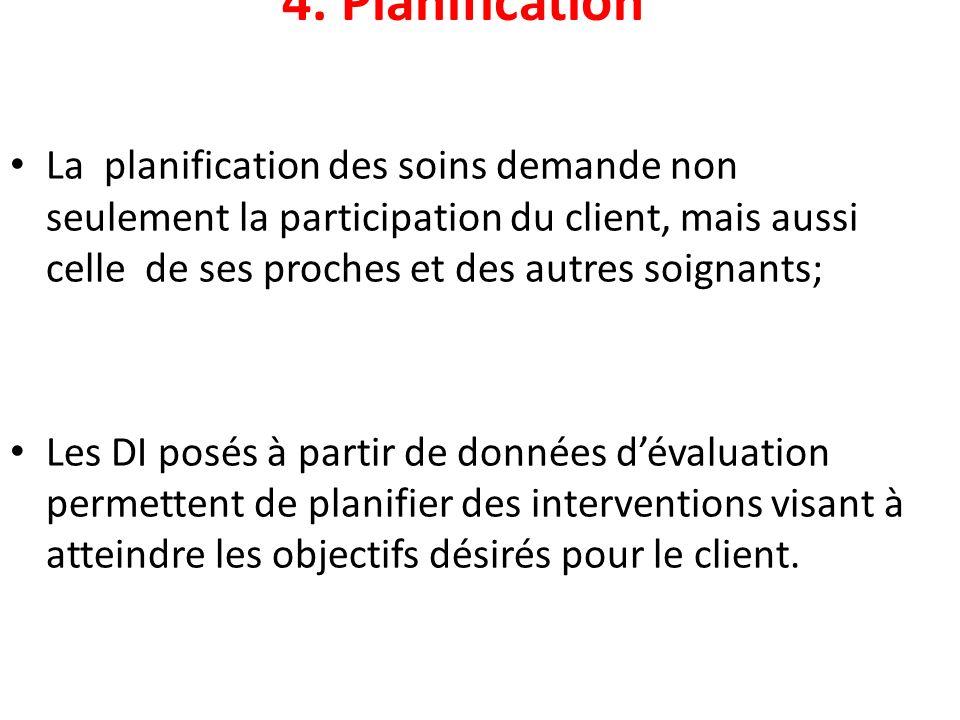 4. Planification La planification des soins demande non seulement la participation du client, mais aussi celle de ses proches et des autres soignants;