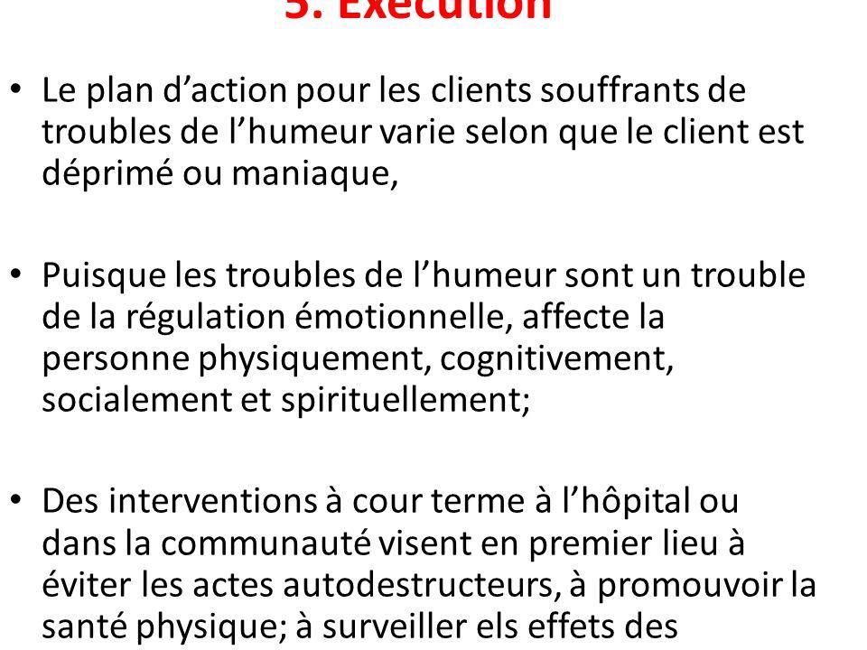 5. Exécution Le plan daction pour les clients souffrants de troubles de lhumeur varie selon que le client est déprimé ou maniaque, Puisque les trouble