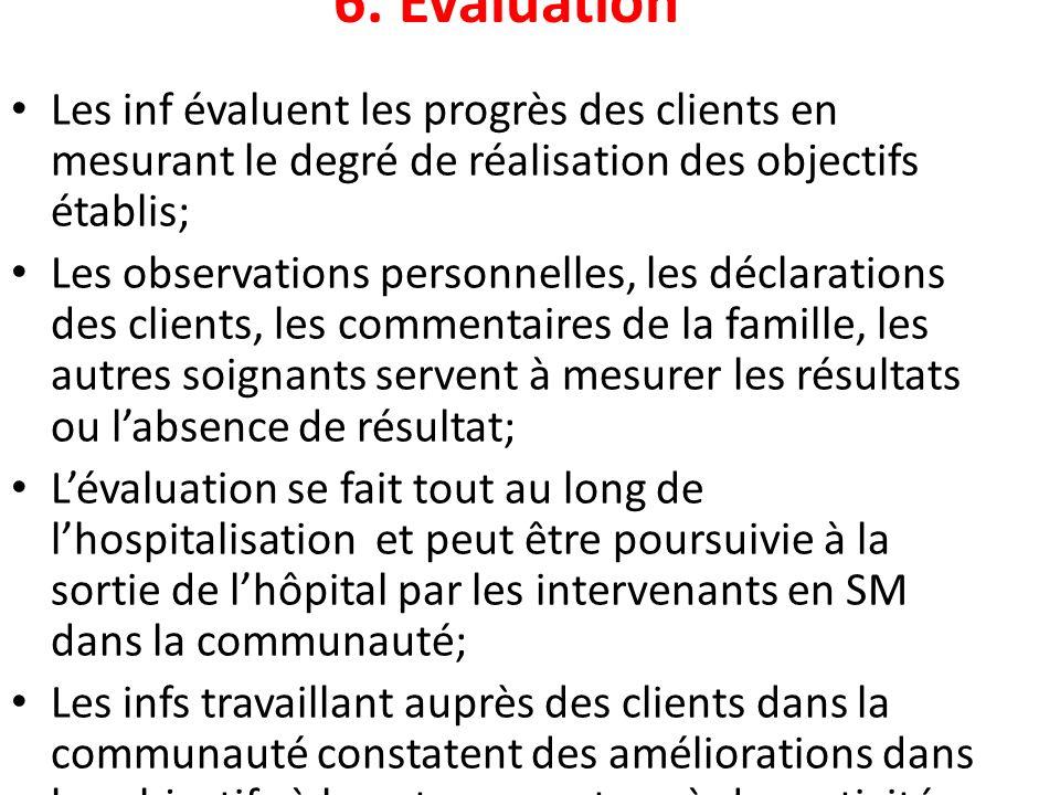 6. Évaluation Les inf évaluent les progrès des clients en mesurant le degré de réalisation des objectifs établis; Les observations personnelles, les d