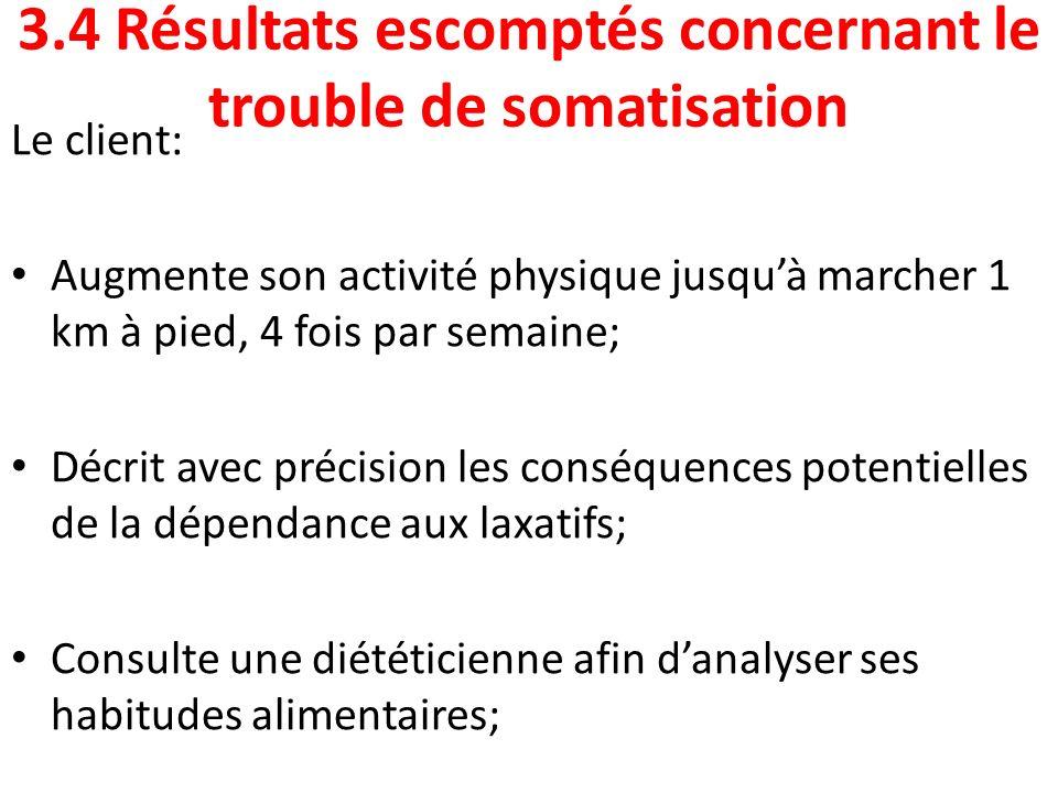 3.4 Résultats escomptés concernant le trouble de somatisation Le client: Augmente son activité physique jusquà marcher 1 km à pied, 4 fois par semaine