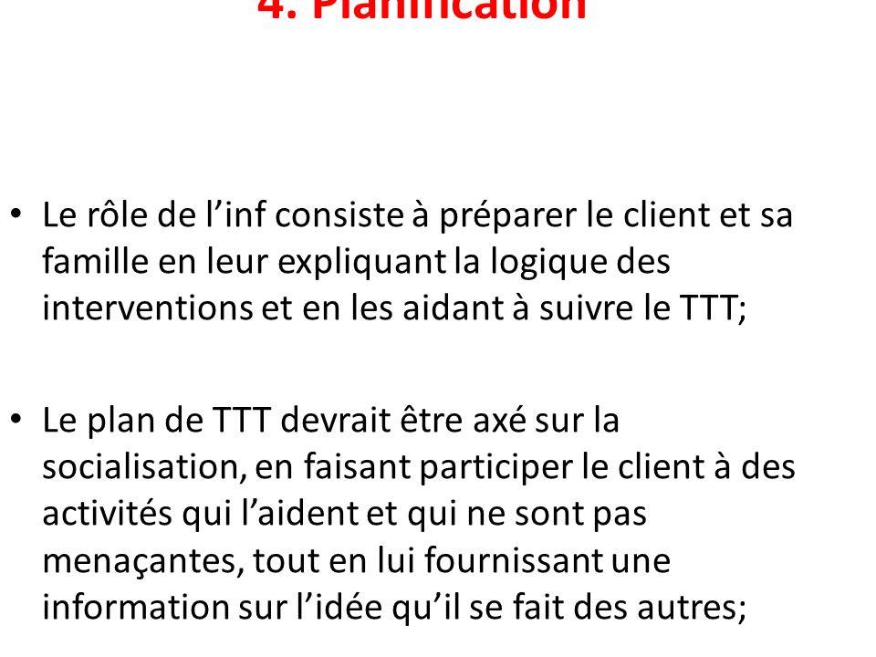 4. Planification Le rôle de linf consiste à préparer le client et sa famille en leur expliquant la logique des interventions et en les aidant à suivre