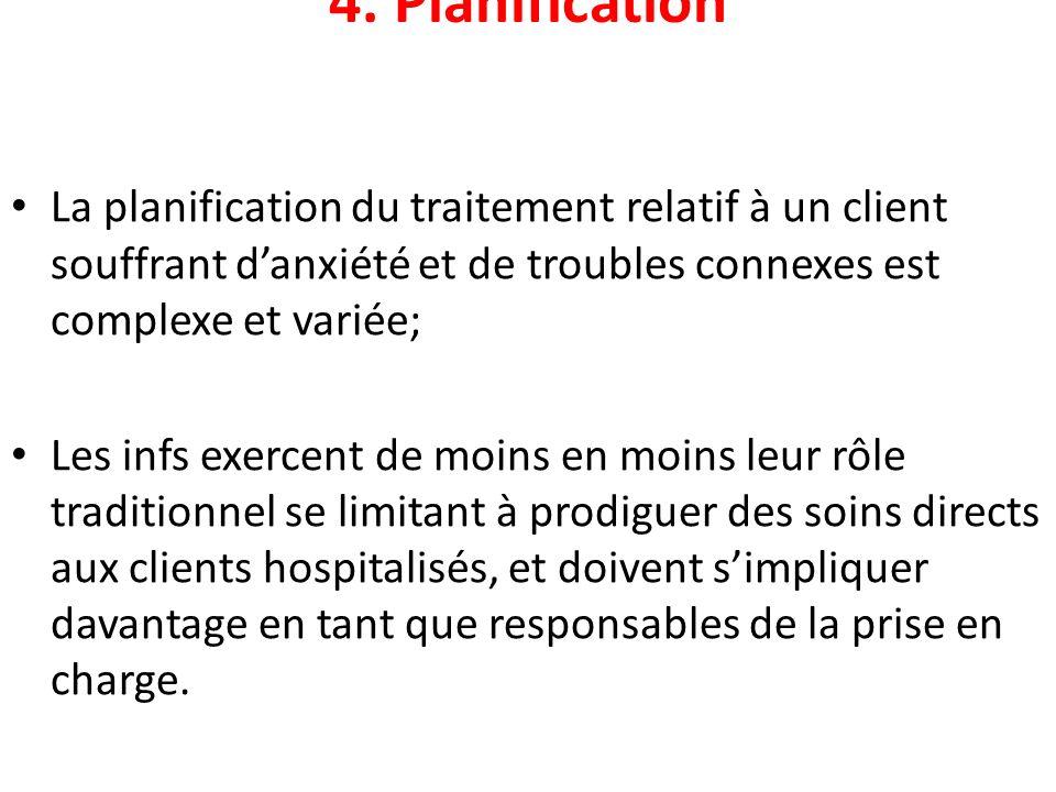 4. Planification La planification du traitement relatif à un client souffrant danxiété et de troubles connexes est complexe et variée; Les infs exerce