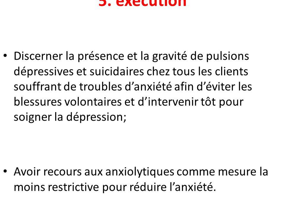 5. exécution Discerner la présence et la gravité de pulsions dépressives et suicidaires chez tous les clients souffrant de troubles danxiété afin dévi