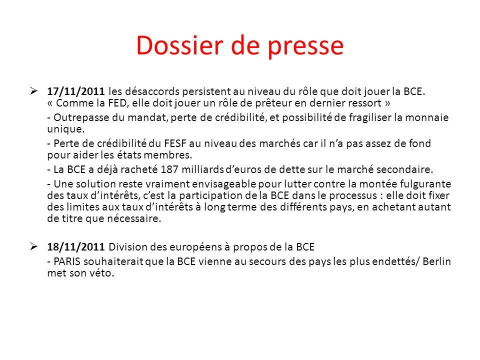 Dossier de presse 17/11/2011 les désaccords persistent au niveau du rôle que doit jouer la BCE. « Comme la FED, elle doit jouer un rôle de prêteur en