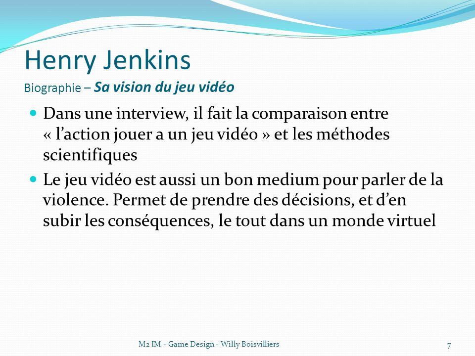 Henry Jenkins Biographie – Sa vision du jeu vidéo Eight Myths About Video Games Debunked, il démystifie 8 « clichés » à propos des jeux vidéo.