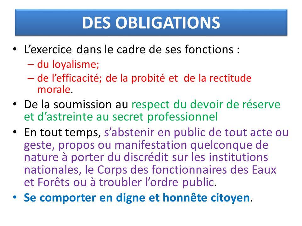 DES OBLIGATIONS Lexercice dans le cadre de ses fonctions : – du loyalisme; – de lefficacité; de la probité et de la rectitude morale. De la soumission
