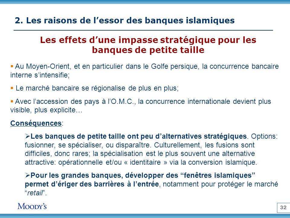 32 2. Les raisons de lessor des banques islamiques Les effets dune impasse stratégique pour les banques de petite taille Au Moyen-Orient, et en partic