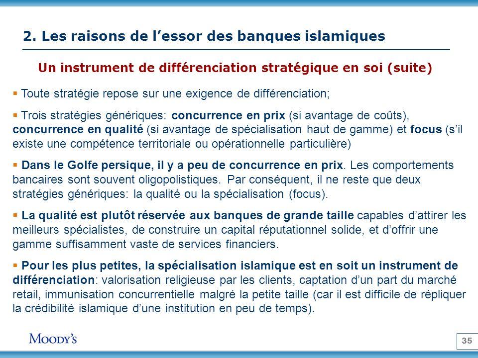 35 2. Les raisons de lessor des banques islamiques Un instrument de différenciation stratégique en soi (suite) Toute stratégie repose sur une exigence
