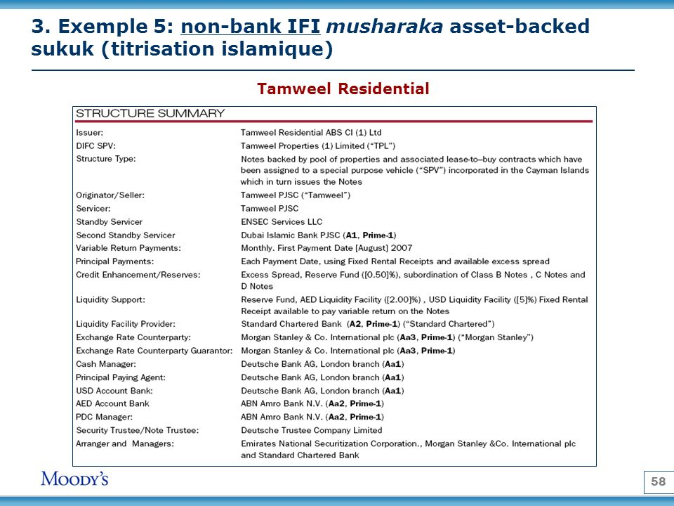 58 Tamweel Residential 3. Exemple 5: non-bank IFI musharaka asset-backed sukuk (titrisation islamique)