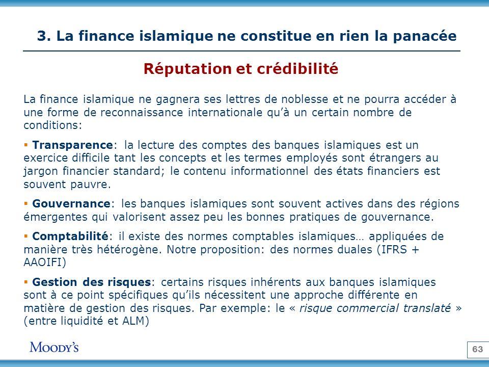 63 3. La finance islamique ne constitue en rien la panacée La finance islamique ne gagnera ses lettres de noblesse et ne pourra accéder à une forme de