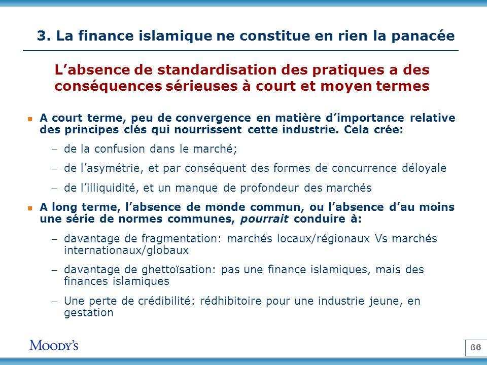 66 3. La finance islamique ne constitue en rien la panacée A court terme, peu de convergence en matière dimportance relative des principes clés qui no