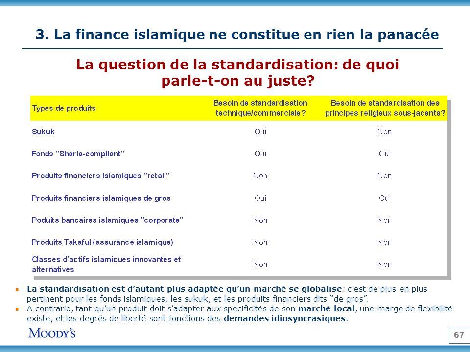 67 3. La finance islamique ne constitue en rien la panacée La standardisation est dautant plus adaptée quun marché se globalise: cest de plus en plus