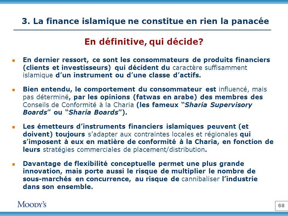 68 3. La finance islamique ne constitue en rien la panacée En dernier ressort, ce sont les consommateurs de produits financiers (clients et investisse