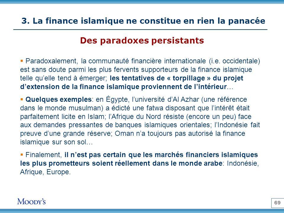69 3. La finance islamique ne constitue en rien la panacée Paradoxalement, la communauté financière internationale (i.e. occidentale) est sans doute p