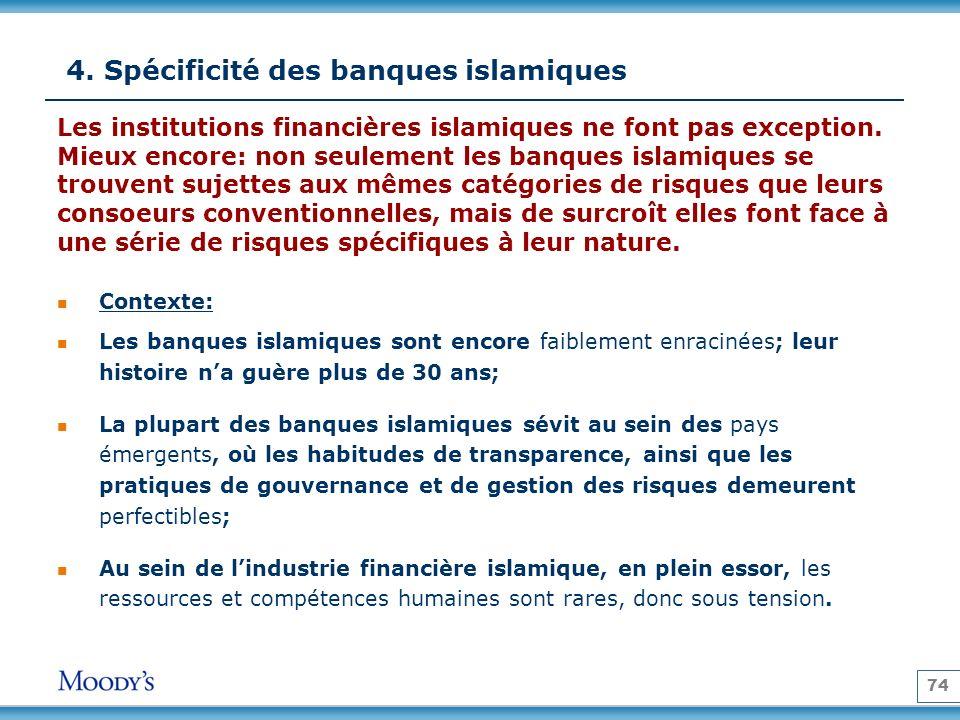 74 4. Spécificité des banques islamiques Contexte: Les banques islamiques sont encore faiblement enracinées; leur histoire na guère plus de 30 ans; La