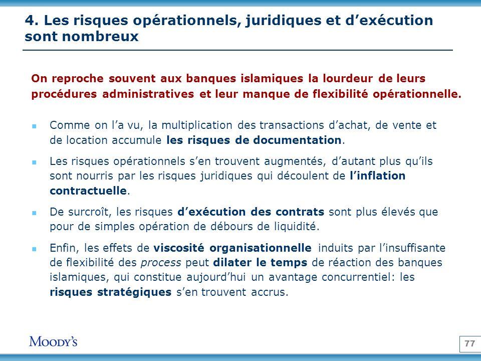 77 4. Les risques opérationnels, juridiques et dexécution sont nombreux On reproche souvent aux banques islamiques la lourdeur de leurs procédures adm