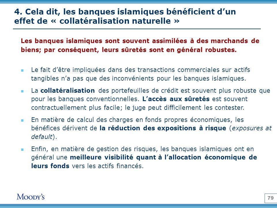 79 4. Cela dit, les banques islamiques bénéficient dun effet de « collatéralisation naturelle » Les banques islamiques sont souvent assimilées à des m