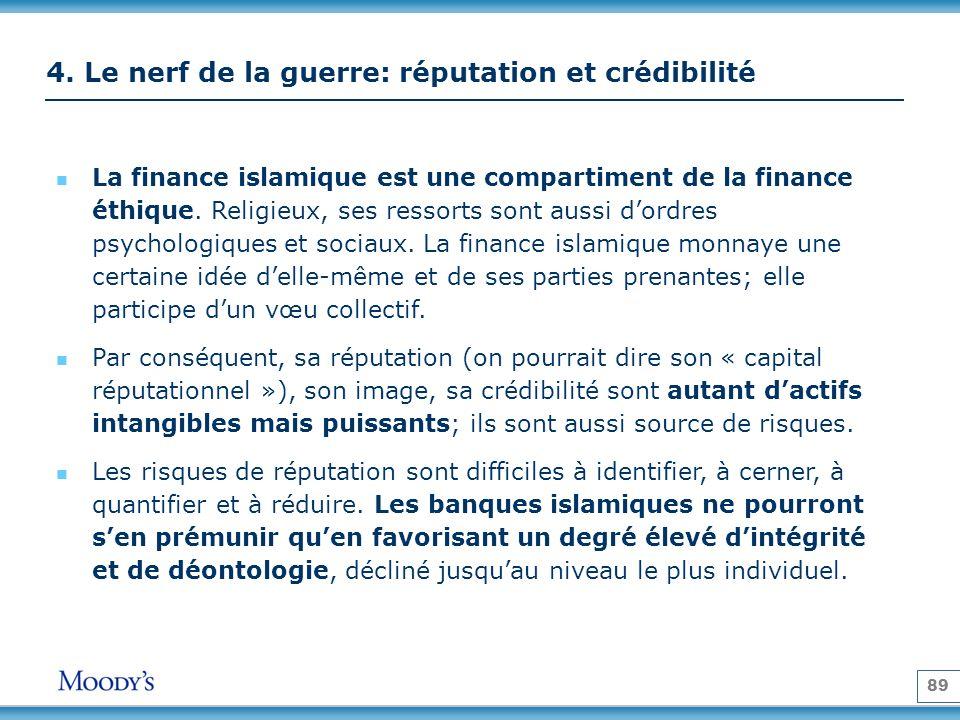 89 4. Le nerf de la guerre: réputation et crédibilité La finance islamique est une compartiment de la finance éthique. Religieux, ses ressorts sont au
