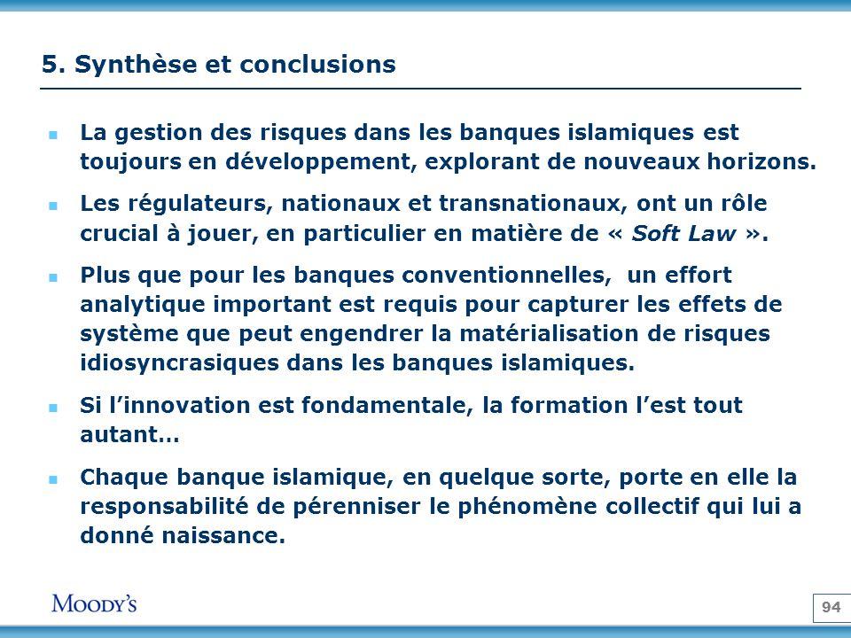 94 5. Synthèse et conclusions La gestion des risques dans les banques islamiques est toujours en développement, explorant de nouveaux horizons. Les ré