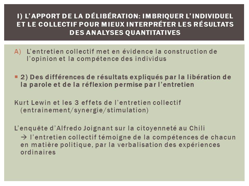 A)Lentretien collectif met en évidence la construction de lopinion et la compétence des individus 2) Des différences de résultats expliqués par la lib