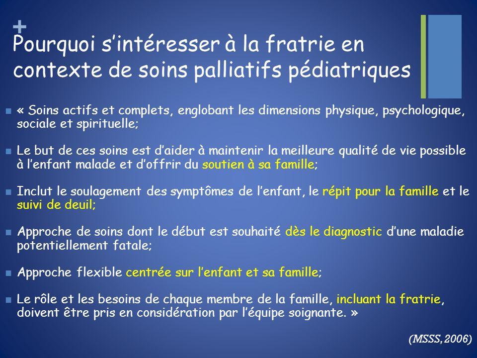 + Pourquoi sintéresser à la fratrie en contexte de soins palliatifs pédiatriques « Soins actifs et complets, englobant les dimensions physique, psycho