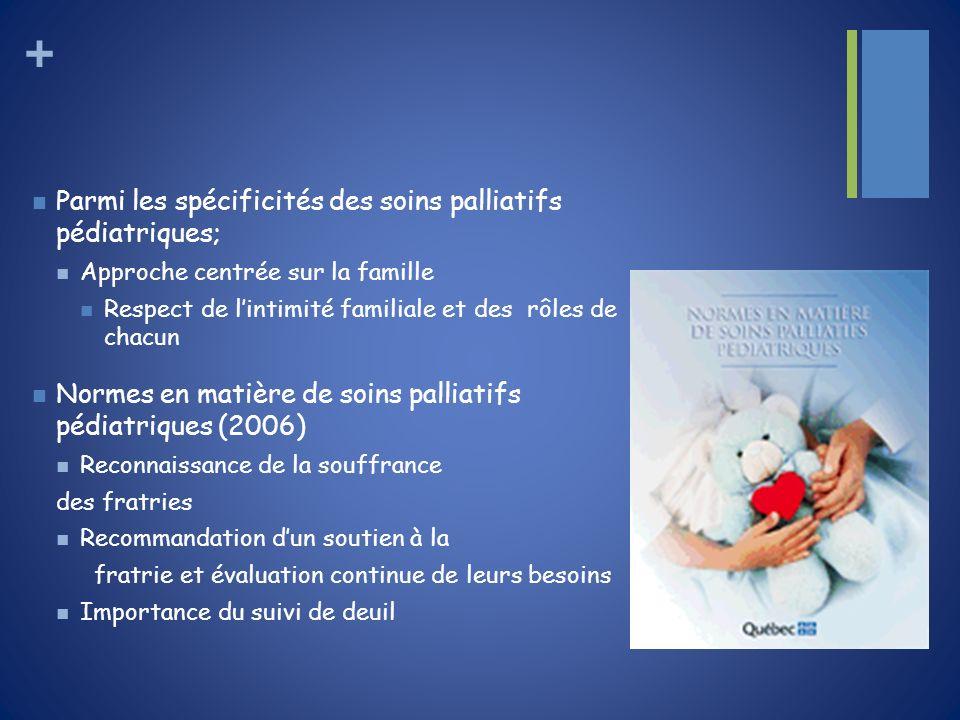 + Parmi les spécificités des soins palliatifs pédiatriques; Approche centrée sur la famille Respect de lintimité familiale et des rôles de chacun Norm