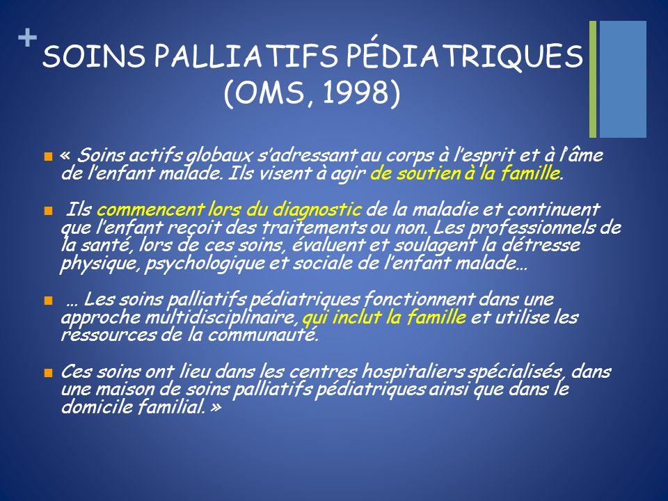 + SOINS PALLIATIFS PÉDIATRIQUES (OMS, 1998) « Soins actifs globaux sadressant au corps à lesprit et à lâme de lenfant malade. Ils visent à agir de sou