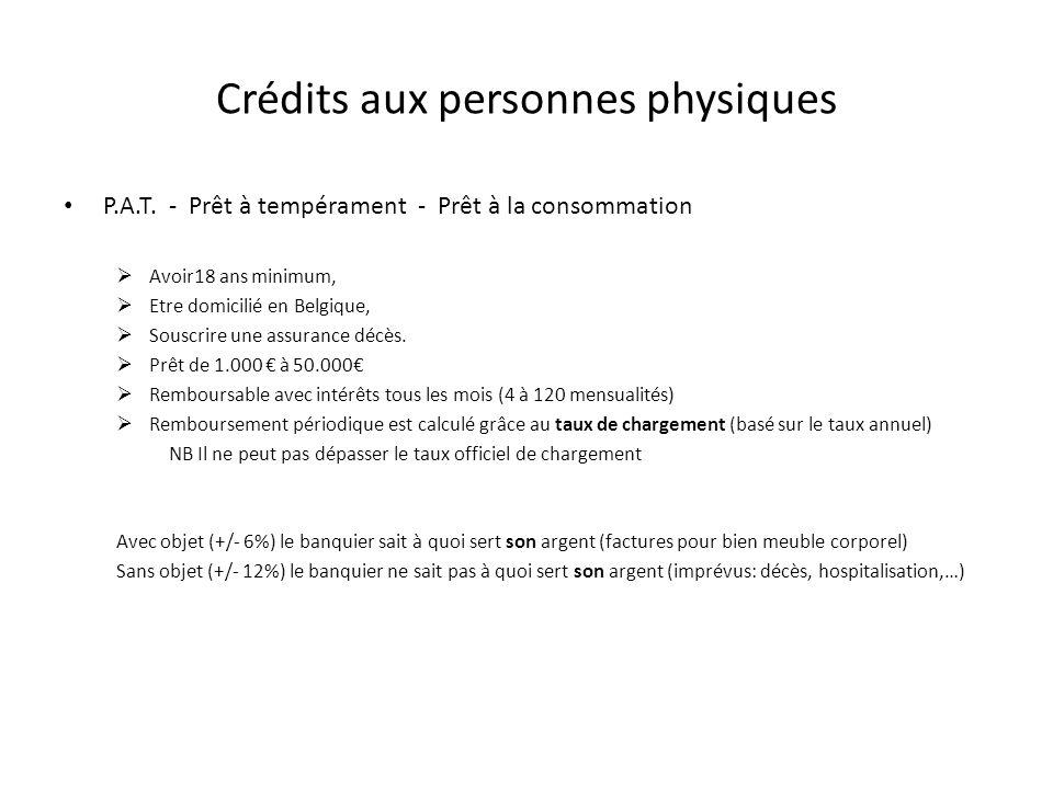 Crédits aux personnes physiques P.A.T. - Prêt à tempérament - Prêt à la consommation Avoir18 ans minimum, Etre domicilié en Belgique, Souscrire une as