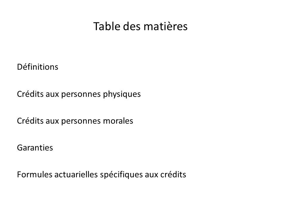 Table des matières Définitions Crédits aux personnes physiques Crédits aux personnes morales Garanties Formules actuarielles spécifiques aux crédits